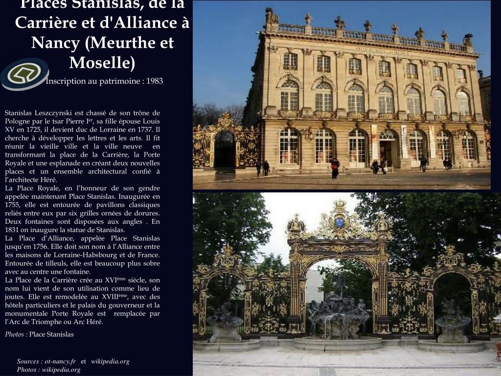 Places Stanislas, de la Carrière et d'Alliance à Nancy (Meurthe et Moselle)
