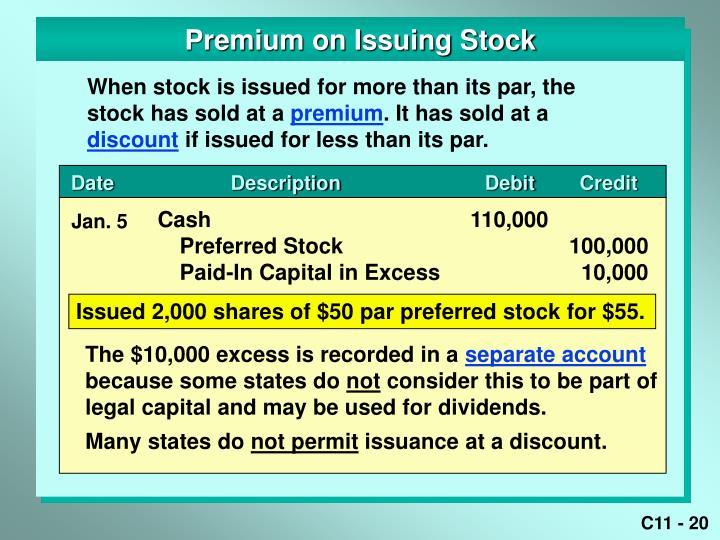 Premium on Issuing Stock