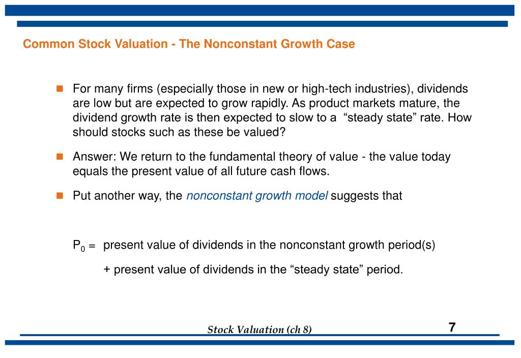 Common Stock Valuation - The Nonconstant Growth Case