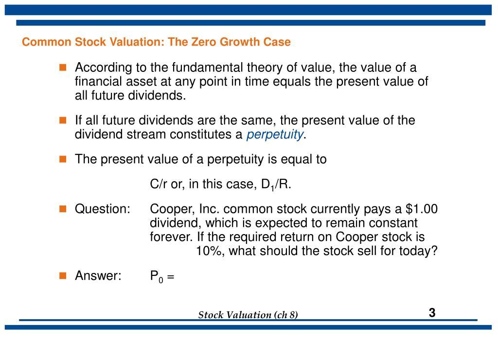 Common Stock Valuation: The Zero Growth Case