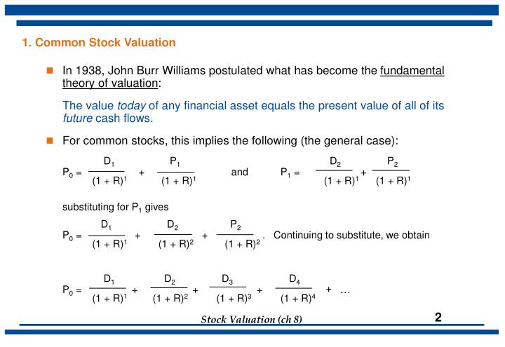 1. Common Stock Valuation