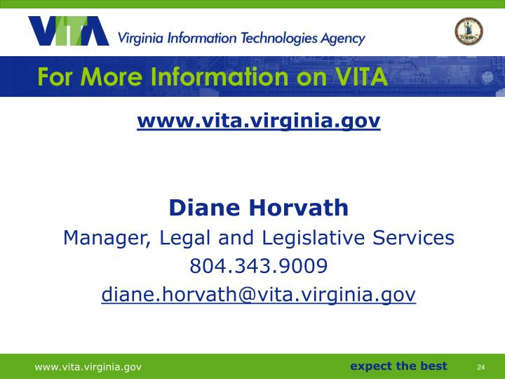 For More Information on VITA