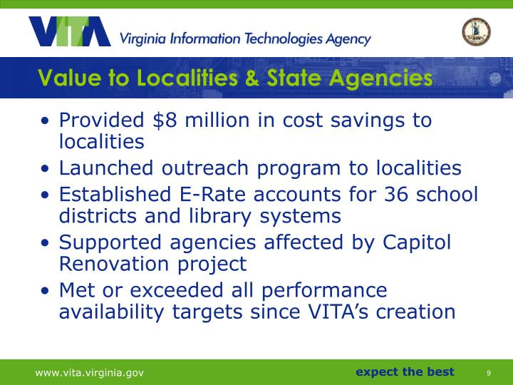 Value to Localities & State Agencies