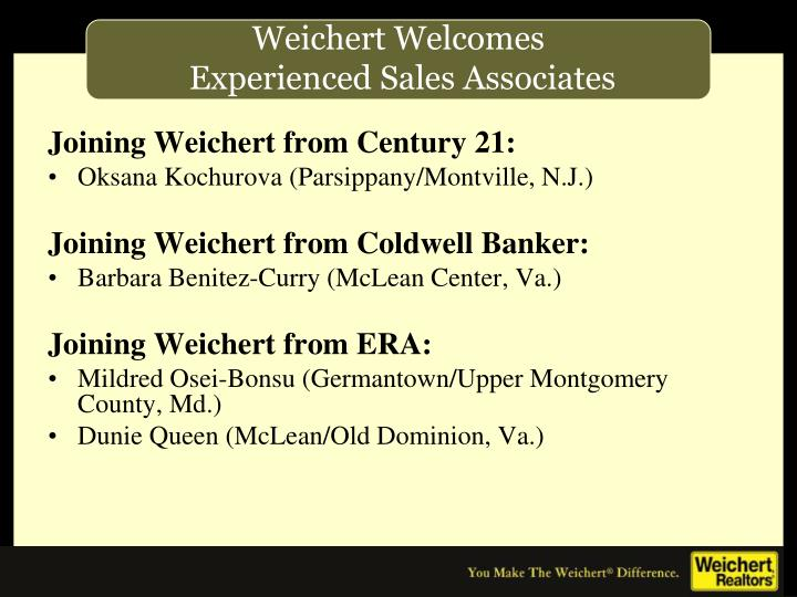 Joining Weichert from Century 21: