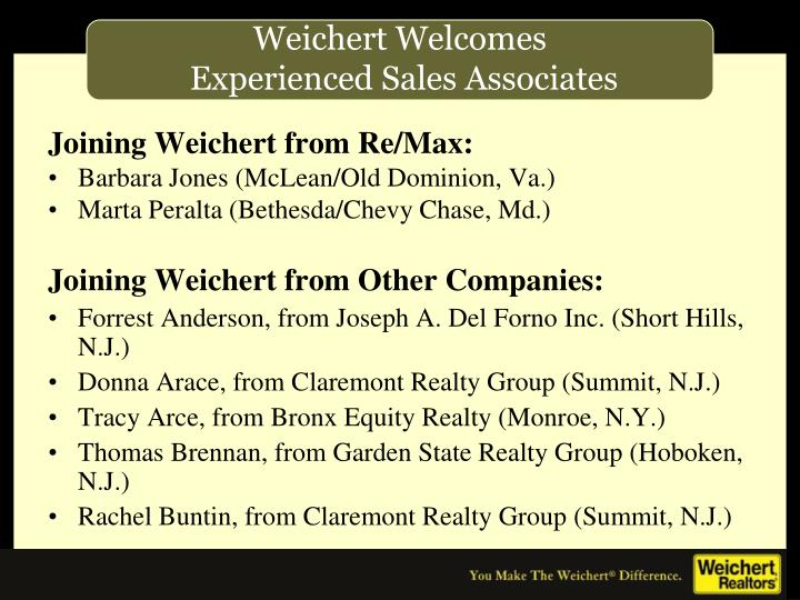 Joining Weichert from Re/Max: