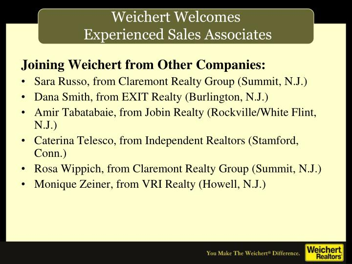 Joining Weichert from Other Companies: