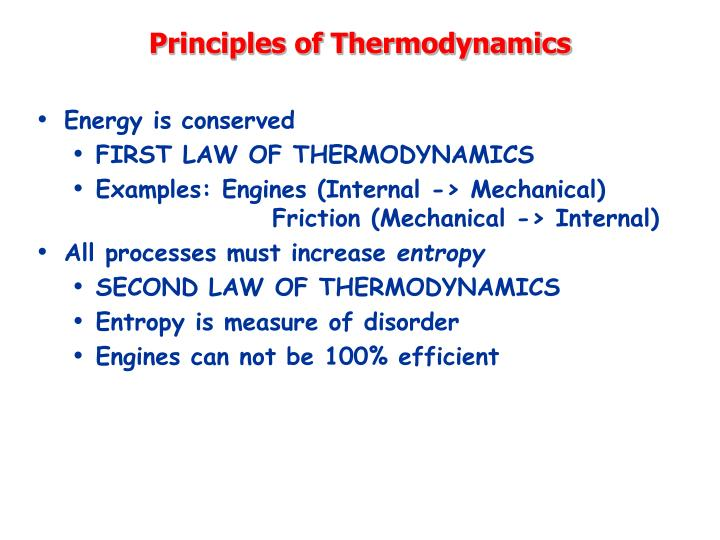 Principles of Thermodynamics