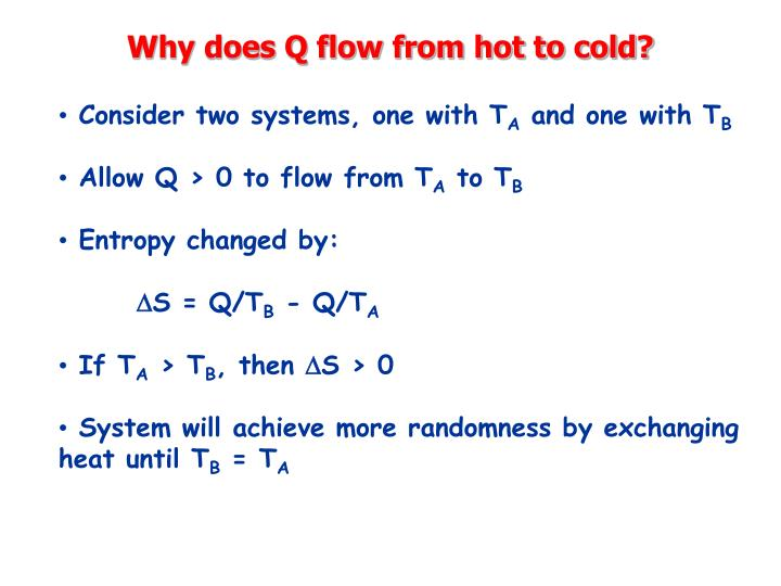 Why does Q flow from hot to cold?