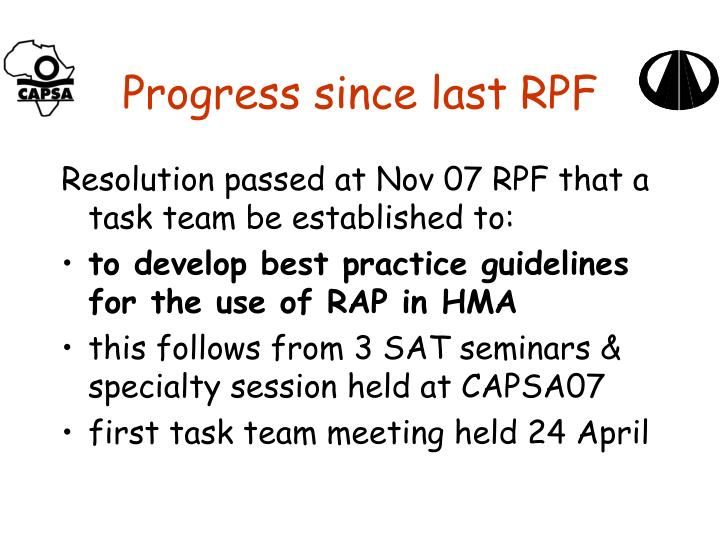 Progress since last rpf