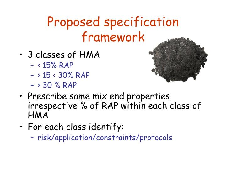 Proposed specification framework