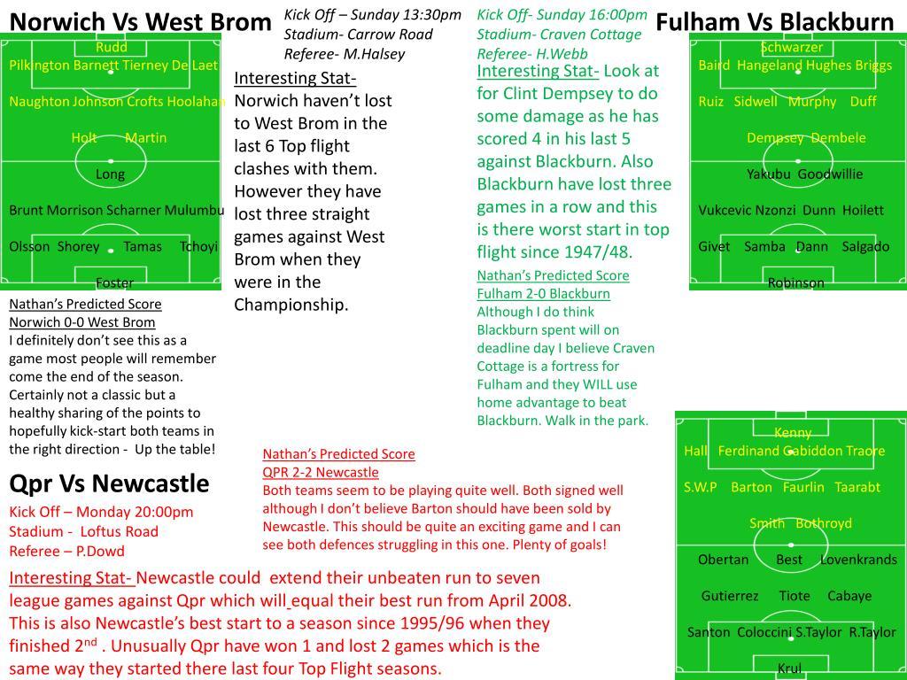 Norwich Vs West Brom