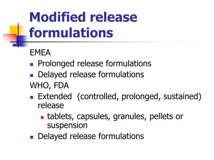 Modified release formulations