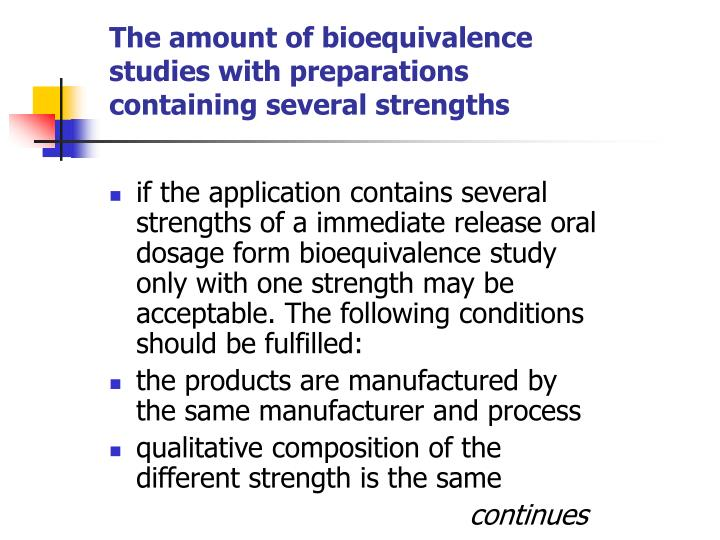 The amount of bioequivalence studies with preparations containing several strengths