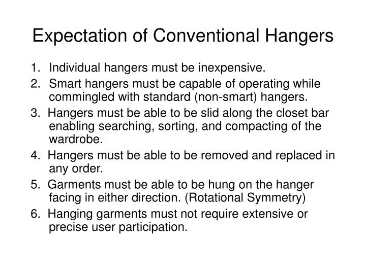 Expectation of Conventional Hangers