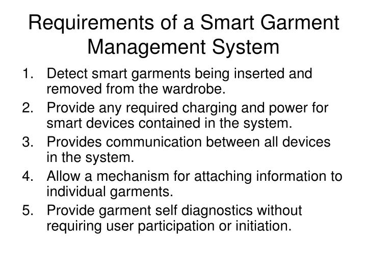 Requirements of a Smart Garment Management System