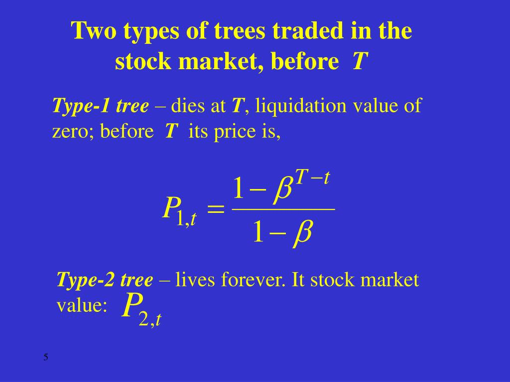 Two types of trees traded in the stock market, before