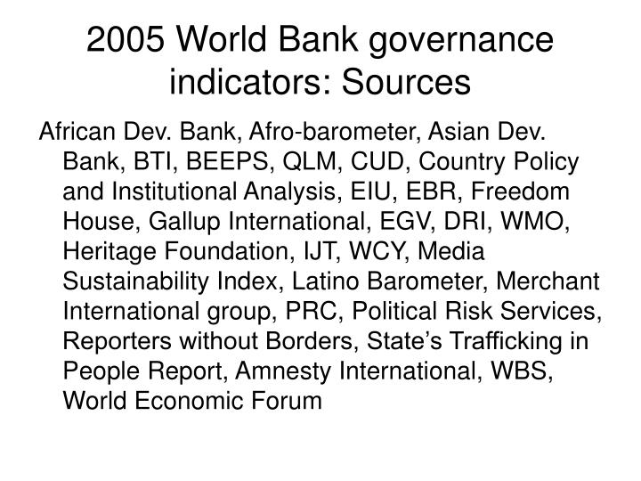 2005 World Bank governance indicators: Sources