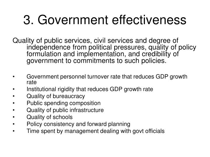 3. Government effectiveness