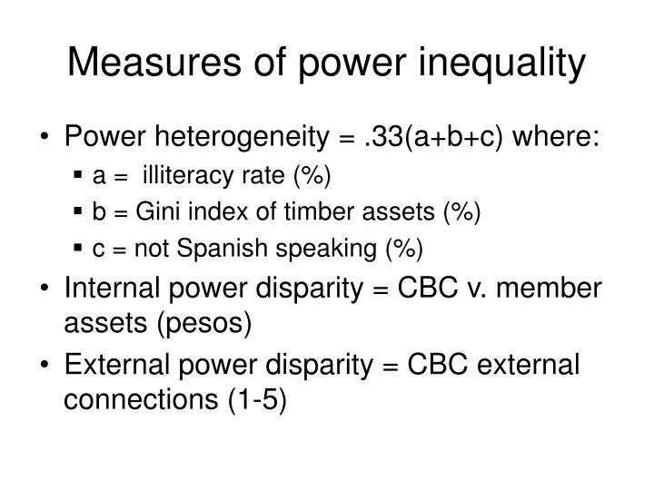 Measures of power inequality