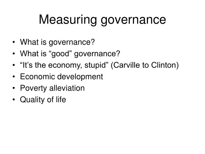 Measuring governance