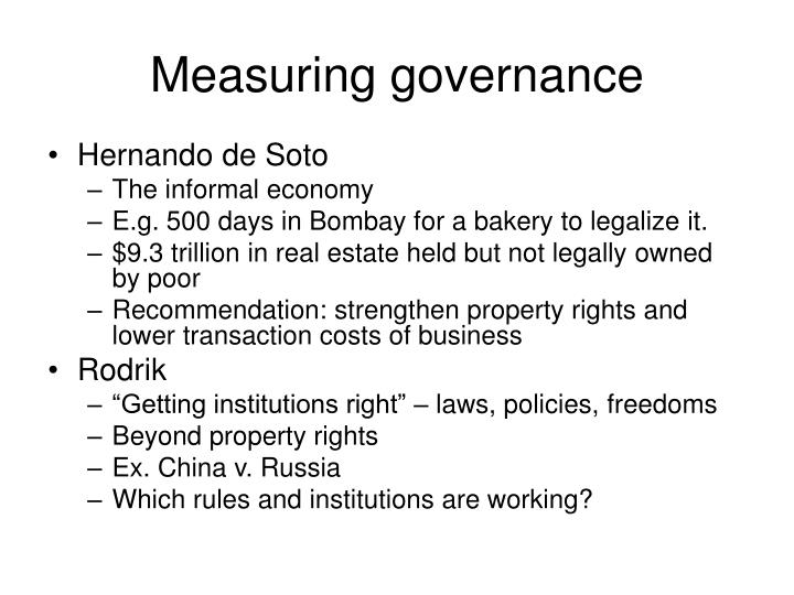 Measuring governance1