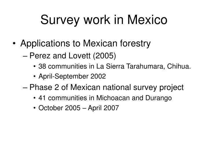 Survey work in Mexico