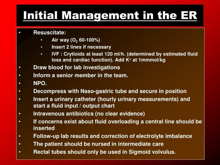 Initial Management in the ER