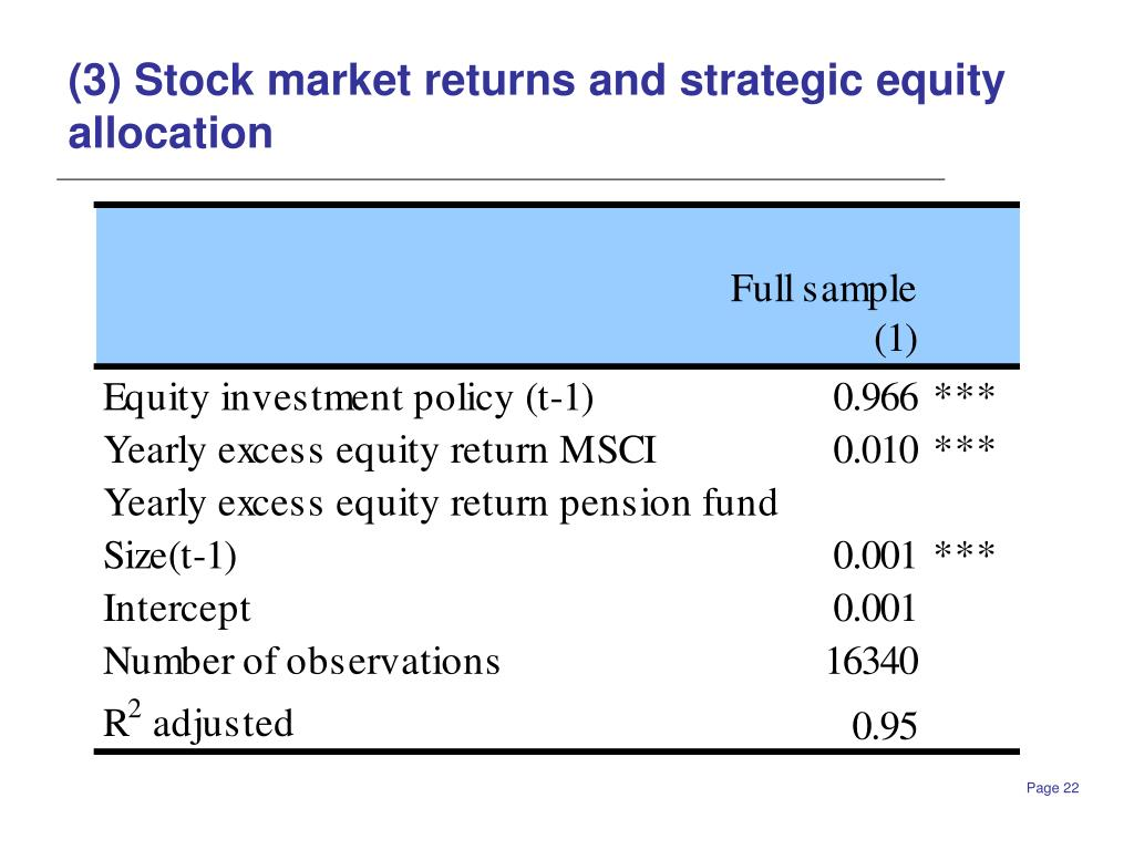 (3) Stock market returns and strategic equity allocation