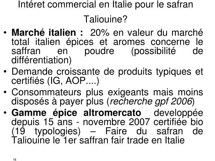 Intéret commercial en Italie pour le safran Taliouine?
