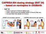caprisa 004 dosing strategy bat 24 based on nevirapine in childbirth