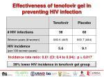effectiveness of tenofovir gel in preventing hiv infection