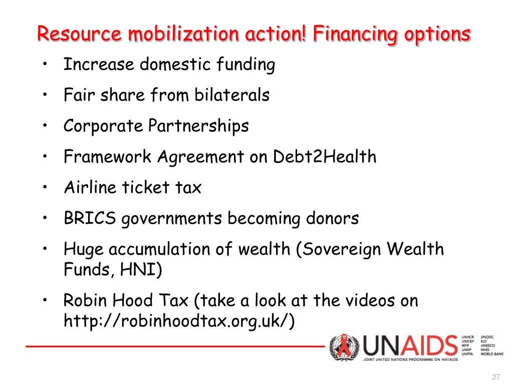 Resource mobilization action! Financing options