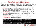 tenofovir gel next steps