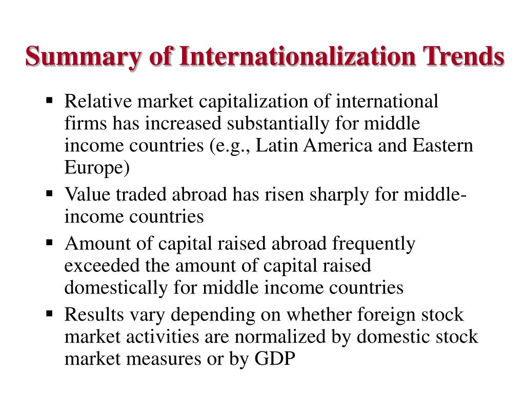 Summary of Internationalization Trends