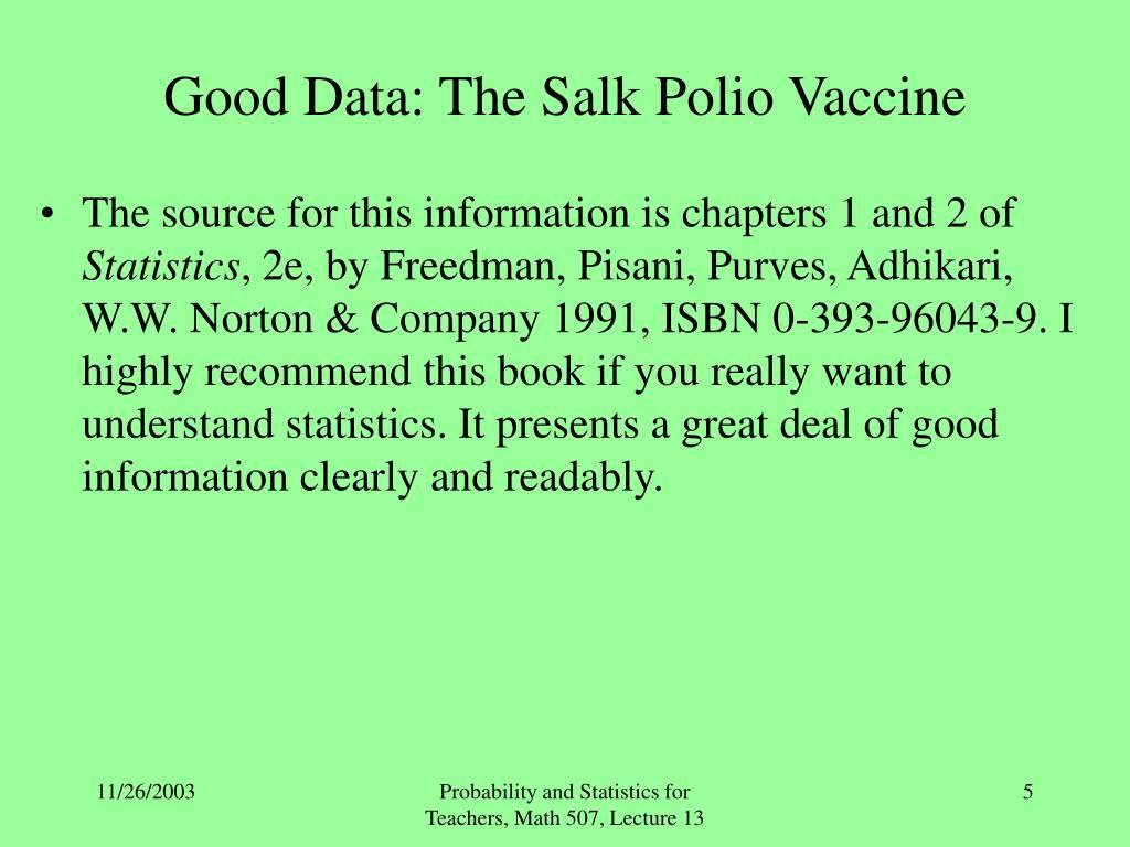 Good Data: The Salk Polio Vaccine