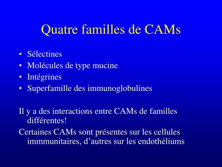 Quatre familles de CAMs