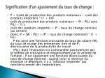 signification d un ajustement du taux de change