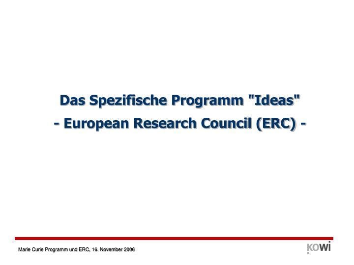 """Das Spezifische Programm """"Ideas"""""""