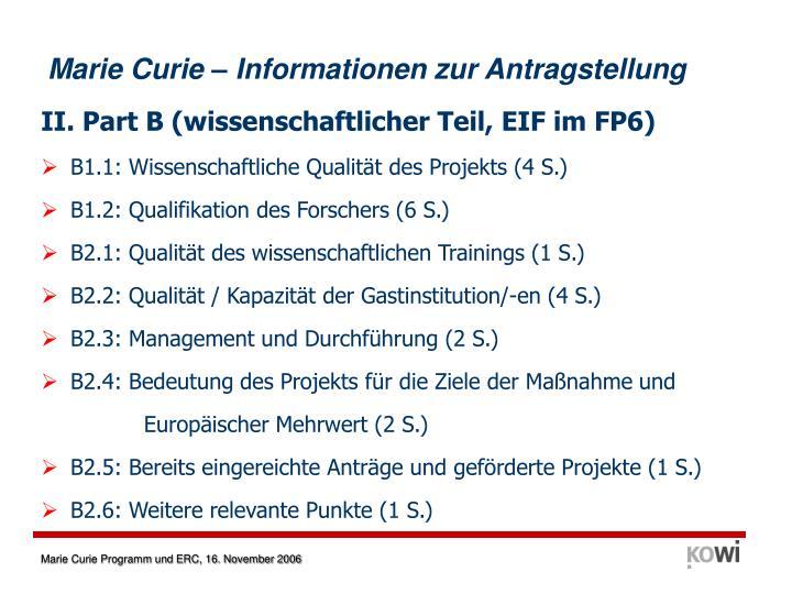 Marie Curie – Informationen zur Antragstellung