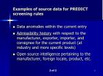 examples of source data for predict screening rules1