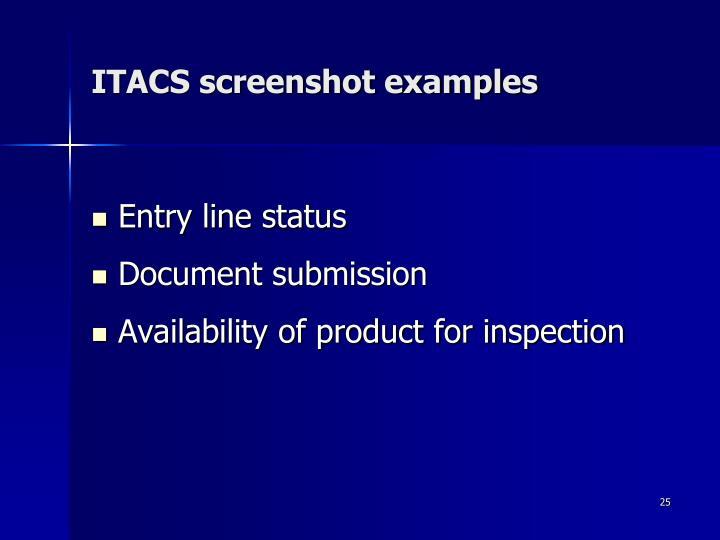 ITACS screenshot examples