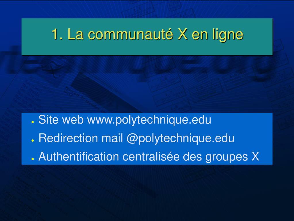 1. La communauté X en ligne