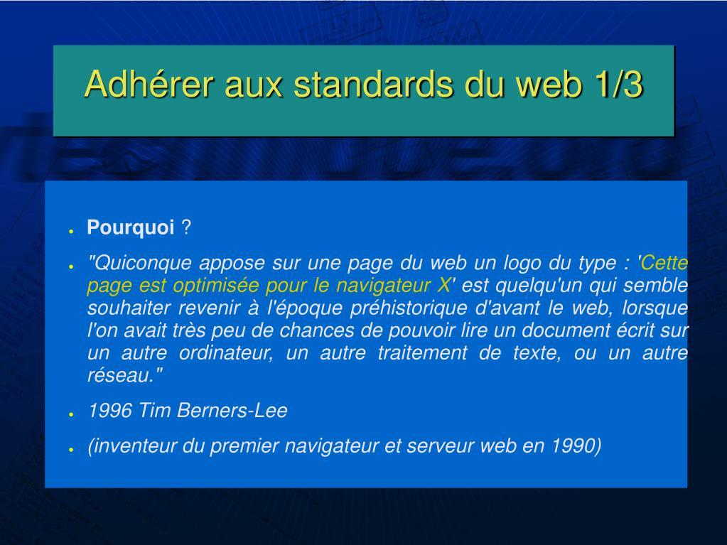 Adhérer aux standards du web 1/3