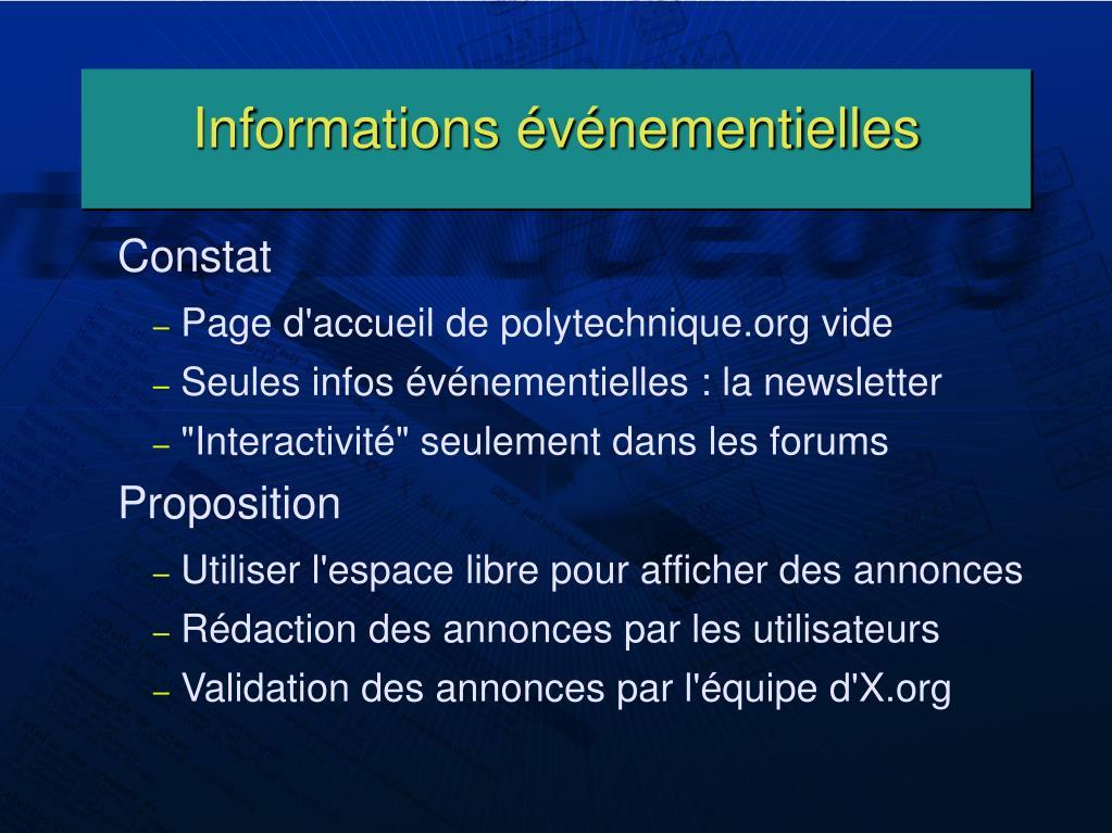 Informations événementielles