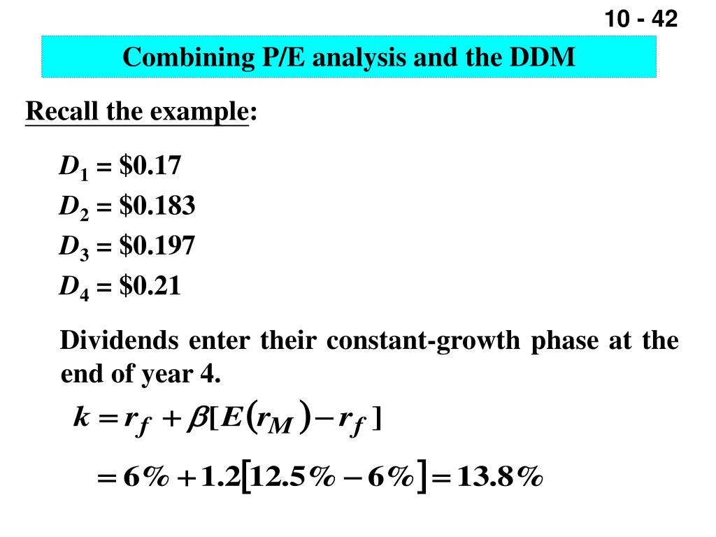 Combining P/E analysis and the DDM