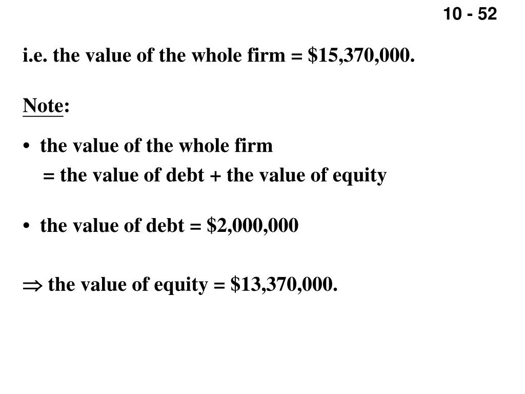 i.e. the value of the whole firm = $15,370,000.