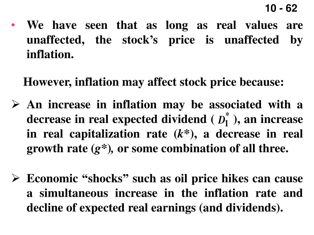 We have seen that as long as real values are unaffected, the stock's price is unaffected by inflation.