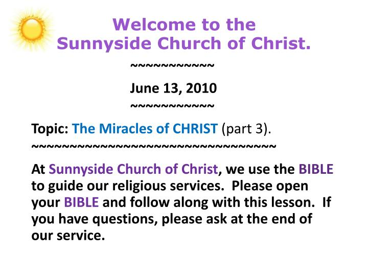 Welcome to the sunnyside church of christ