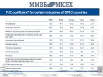 p e coefficient for certain industries of bric countries