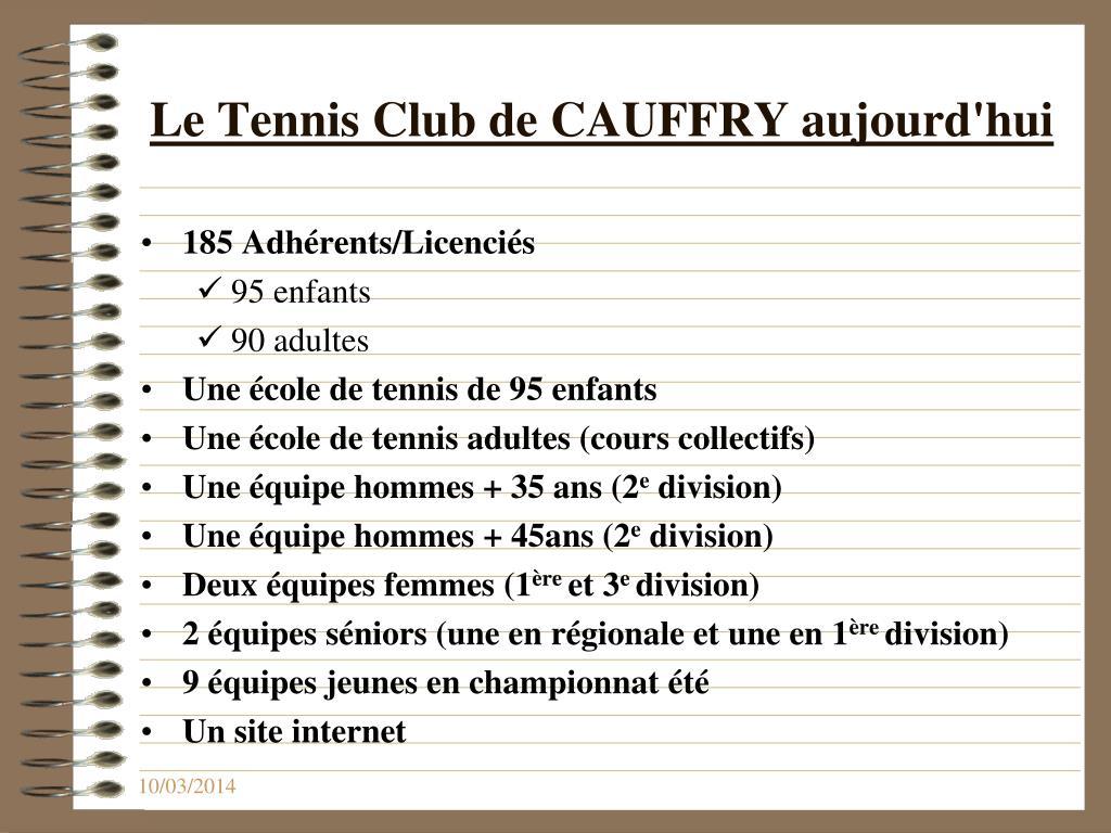 Le Tennis Club de CAUFFRY aujourd'hui
